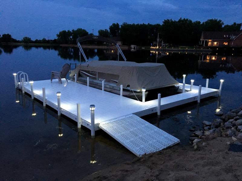 Boat Slip Dock with Solar Lights